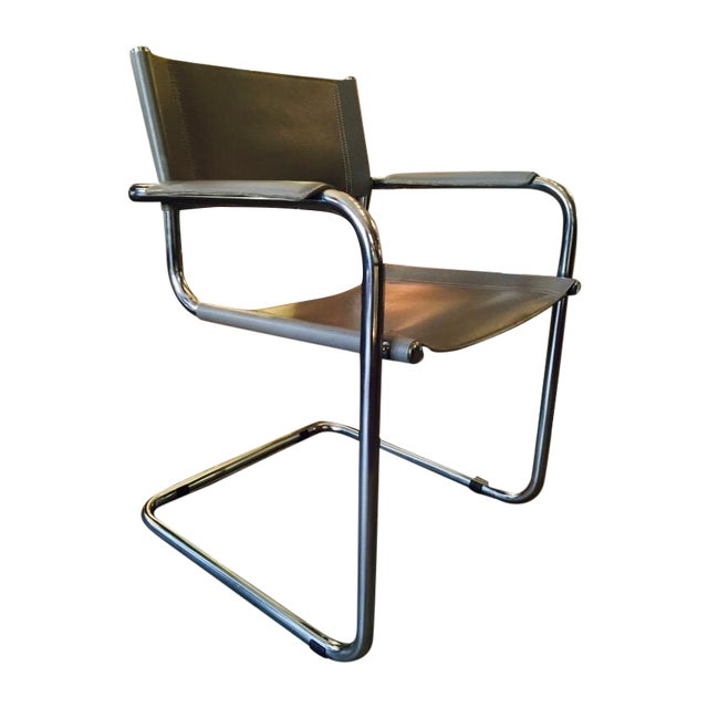 Italian Smoky Grey Leather Sling Chrome Chair - Image 1 of 10