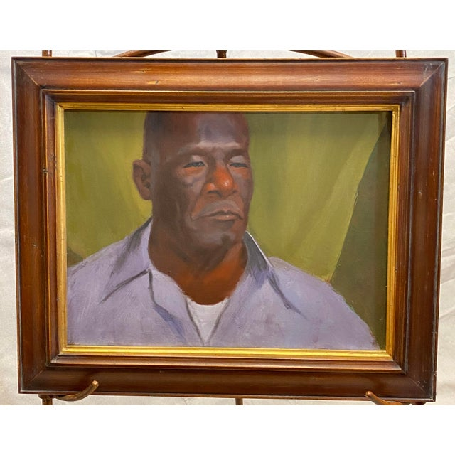 Green Vintage Oil on Canvas Portrait of an African American Man Framed Painting For Sale - Image 8 of 8