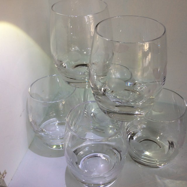 Mid-Century Modern Style Crystal Roly Poly Heavy Bottom Whiskey Glasses With Etched Polka Dots - Set of 6 For Sale - Image 9 of 13