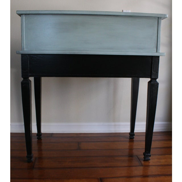 French Vintage Black & French Blue Custom Painted Accent Desk, For Sale - Image 3 of 11