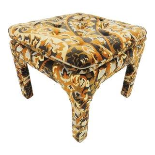 1970s Parsons Style Tufted Square Velvet Ottoman For Sale