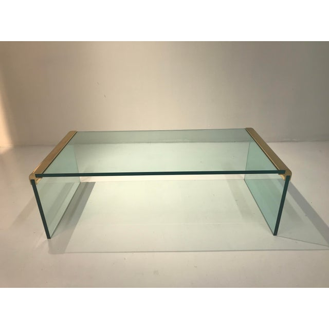 Metal 1970s Minimalist Pace Collection Brass and Glass Coffee Table For Sale - Image 7 of 8