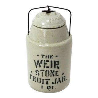 1900's Vintage Antique Stoneware 1 Quart Food Jar