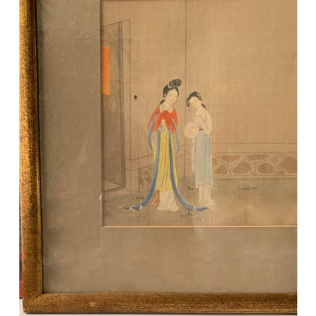 Mid 19th Century Antique Chinese Painting - Woman in Waiting For Sale - Image 5 of 8