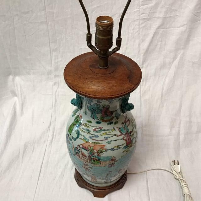 Antique Japanese Porcelain & Wood Lamp - Image 3 of 11