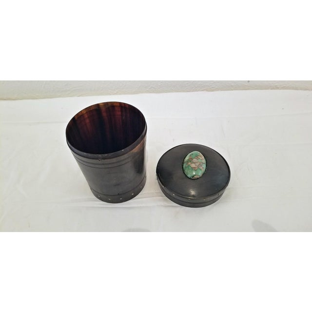 18c Scottish Horn and Polished Stone Tea Caddy For Sale - Image 9 of 12