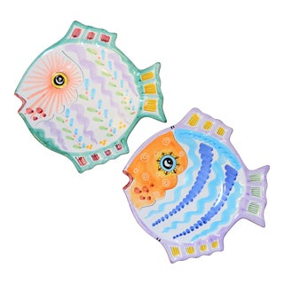 Italian Majolica Fish Platters - Set of 2 For Sale