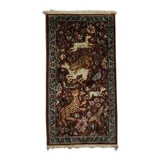 OVintage Kashmir Silk Hand Knotted Rug- 1′3″ × 2′5″ For Sale