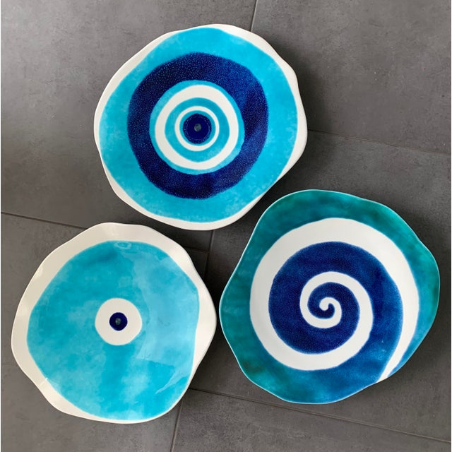 Boho Chic Modern Mediterranean Handmade Glazed Pottery Platter, Evil Eye 1 For Sale - Image 3 of 8