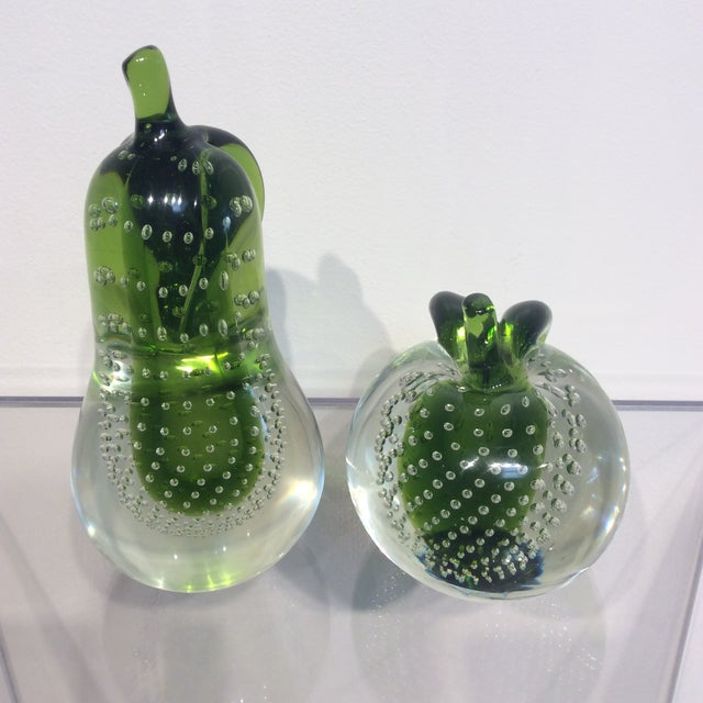 This set of Italian Murano glass pear and apple art sculptures are beautiful enough to accent a kitchen or living room....