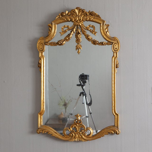 Metal 19th Century French Louis XVI Style Carved Gilt Classical Mirror For Sale - Image 7 of 7