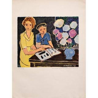 "1948 Matisse ""Two Little Girls, Bouquet of Peonies on Black Background"", Original Period Lithograph For Sale"