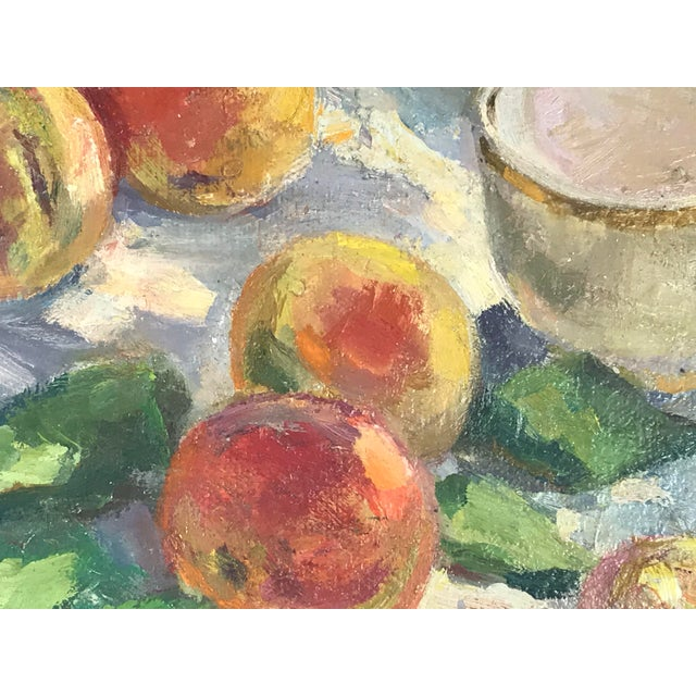 20th Century Impressionistic Oil Painting of Peaches on Table For Sale - Image 4 of 10