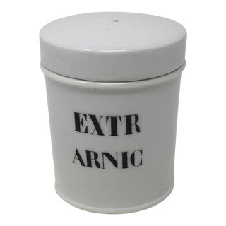 Early 20th Century Porcelain Apothecary Jar Reading Extr Arnic For Sale