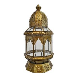 Moorish Brass & Clear Glass Lantern For Sale