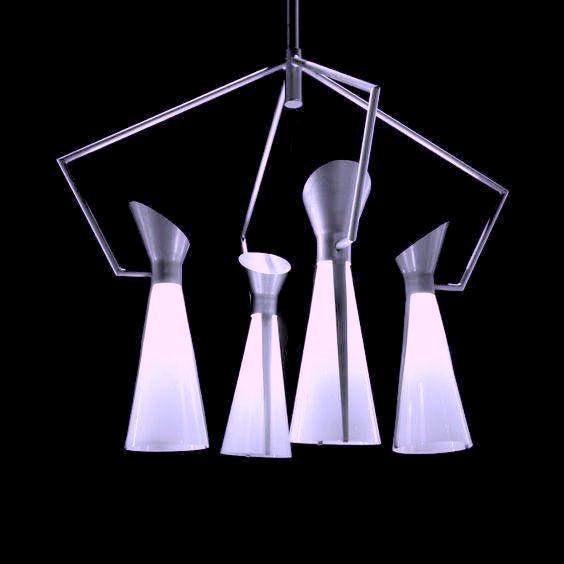 Chrome Mid Century Extreme Modernism Victor Gruen for John Lautner Chandelier Hanging Lamp For Sale - Image 8 of 11
