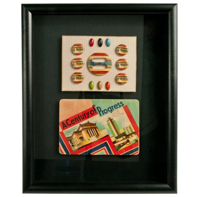 Framed Vintage French Needle Case And Button Card - Image 1 of 2
