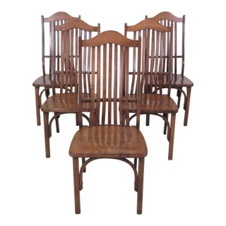 1990s Vintage Adirondack Style Bentwood Maple Dining Room Chairs- Set of 5 For Sale