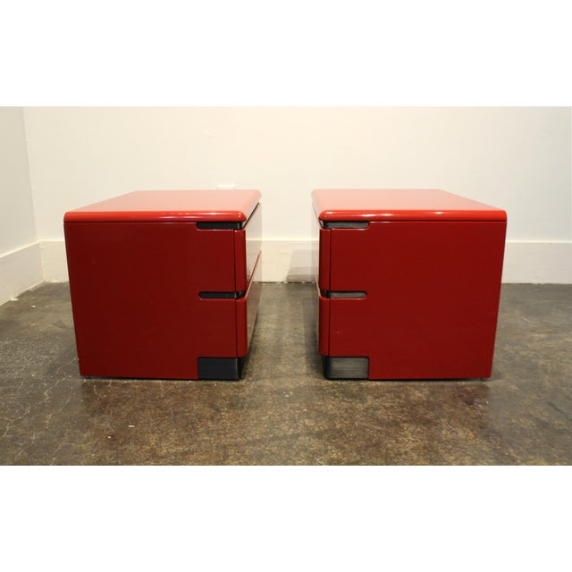 1980s 80s Modern Cherry Red Lacquered Nightstands by Roger Rougier For Sale - Image 5 of 11