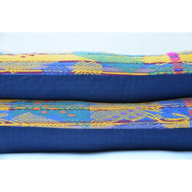 "1950s Hand Embroidered Guatemalan Long Pillow Pair 38"" X 13"" For Sale - Image 5 of 6"