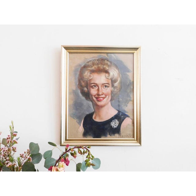 """1960s Portrait of a Lady   16.5""""w x 20.5""""h x 1""""d Circa: 1960s Condition: Excellent This sweet pastel is done in classic..."""