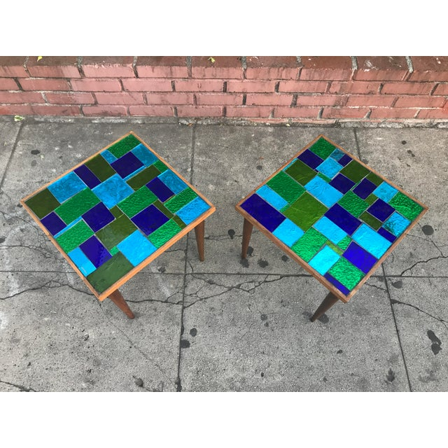 Mid Century Georges Briard Mosaic Glass Tables - a Pair For Sale - Image 4 of 12
