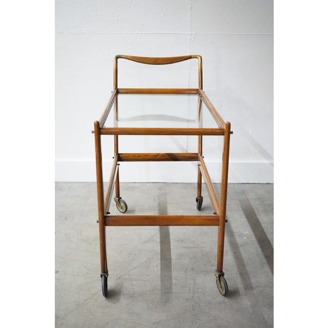 French Mid-Century Wooden Bar Cart With Glass Shelves For Sale - Image 3 of 7