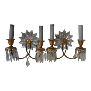 "French Mid-Century Maison Bagues Crystal ""Star Back"" W/ Ormolu Sconces - a Pair For Sale"