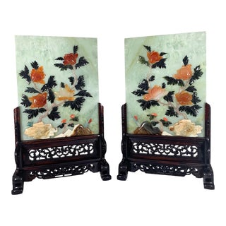 1980s Jade Table Screens With Hand Carved Wood Base - a Pair For Sale