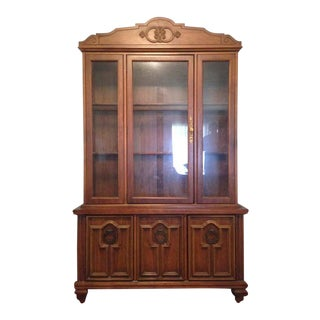 Vintage Three-Door Glass Front China Cabinet