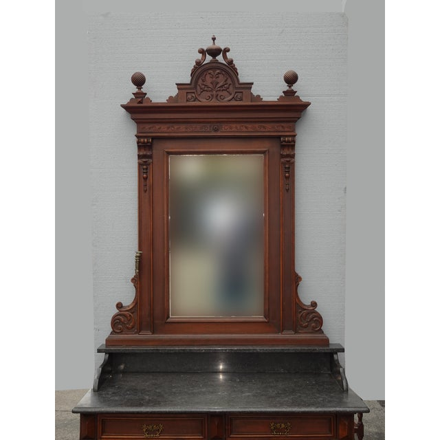 Antique Ornate French Victorian Renaissance Revival Dresser Credenza W Marble For Sale - Image 4 of 12