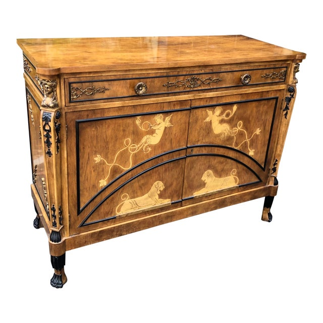Vintage Neoclassical Satinwood Inlaid Commode by Traditional Imports For Sale