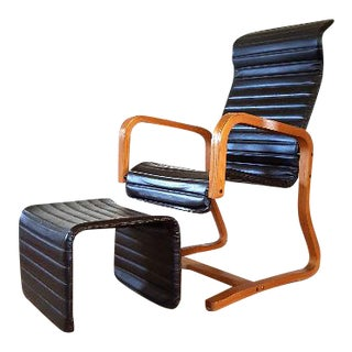 Thonet Mid-Century Lounge Chair & Ottoman - A Pair For Sale