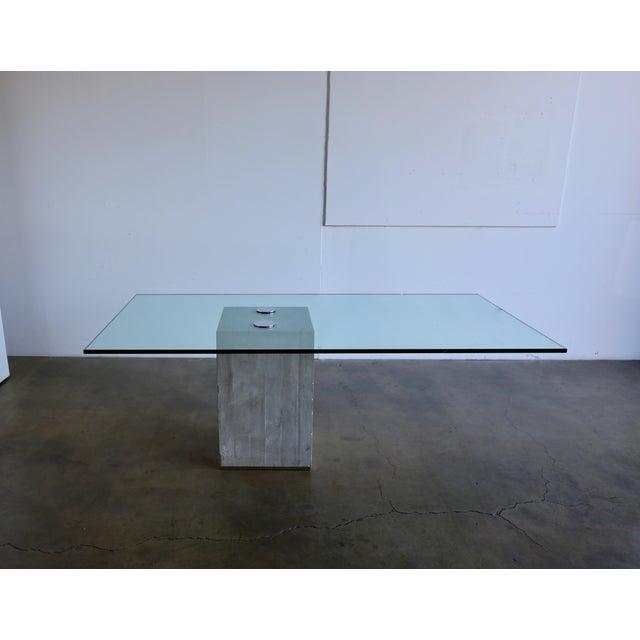 1970s Sergio & Giorgio Saporiti Concrete and Glass Dining Table For Sale - Image 13 of 13