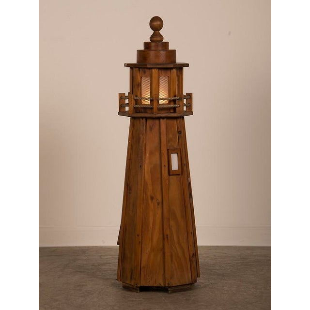 Vintage French Handmade Wood Lighthouse Floor Lamp circa 1950 For Sale In Houston - Image 6 of 8