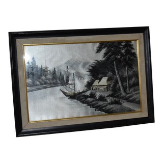 """Japanese Palace"" Silk Embroidery Framed Textile Art For Sale"