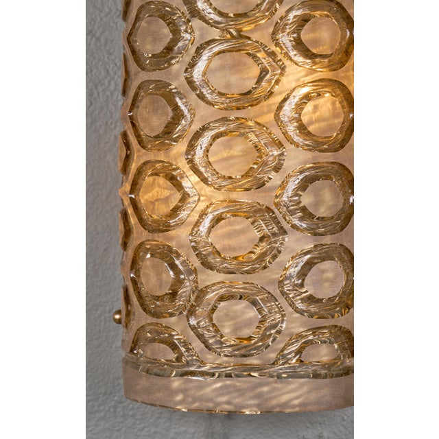 Gold Modernist Murano Glass Stamped Sconces - a Pair For Sale - Image 8 of 10