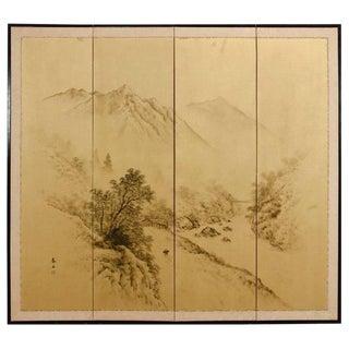 Japanese Four-Panel Byobu Gilt Landscape Screen For Sale