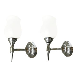Vintage C.1950s French Sconces With White Opaline - a Pair