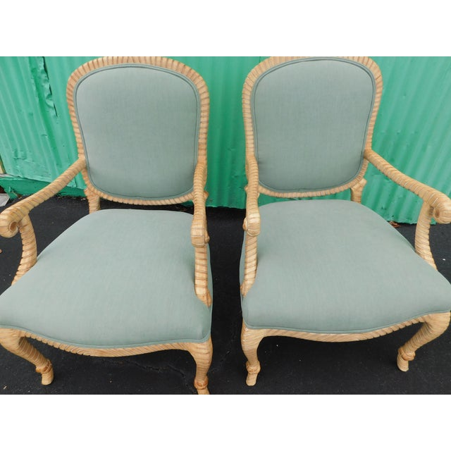 Hollywood Regency Carved Knotted & Twisted Rope Bergere Chairs - a Pair For Sale - Image 6 of 11