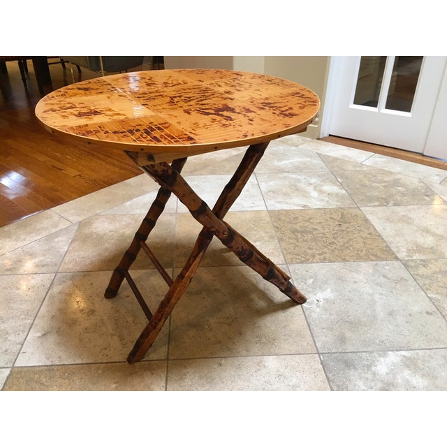 Vintage Bamboo Round Folding Table For Sale - Image 4 of 5