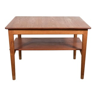 Scandinavian Modern Teak Side Table with Shelf by Johannes Hansen of Denmark For Sale