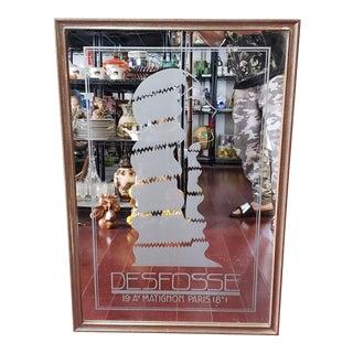 1920 French Art Nouveau Defosse Verre Eglomise Wall Mirror For Sale