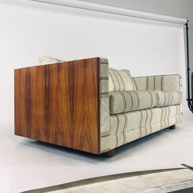 Floating Milo Baughman Cased Rosewood Tuxedo Sofas / Settees-2 Available For Sale In New York - Image 6 of 13