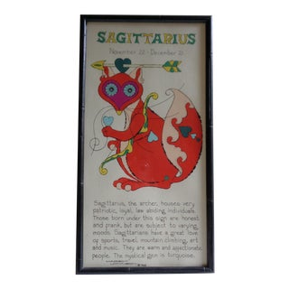 1960s Margot Johnson Sagittarius Fox Psychedelic Zodiac Astrology Framed Poster