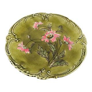 Vintage German Majolica Green & Pink Plate For Sale