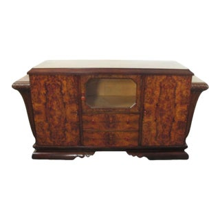 Spanish Art Deco Burl Walnut Credenza Buffet with Mirror For Sale