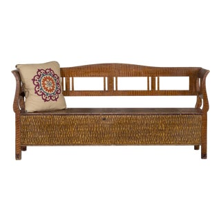 Romanian Hungarian Antique Painted Storage Bench circa 1880 For Sale