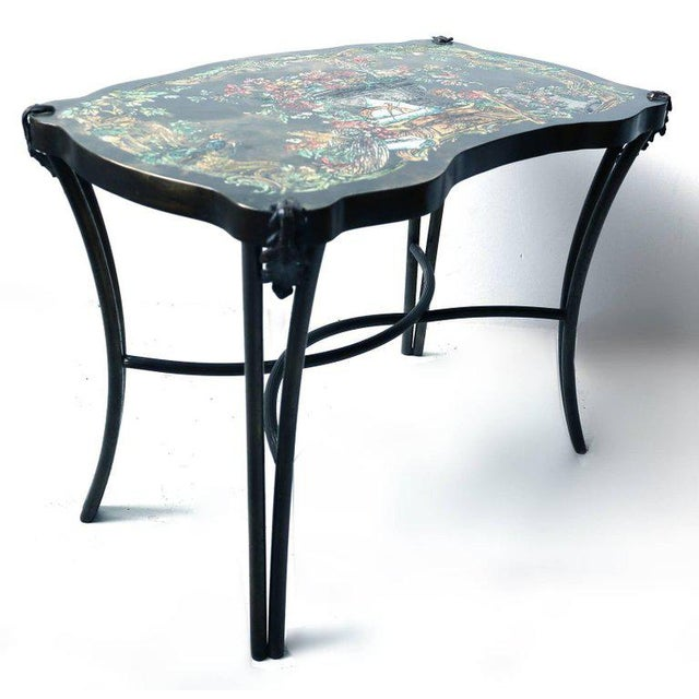Unusual Philip and Kelvin LaVerne 'Pompadour' occasional side table with a colorful, scholarly, still-life motif. Acid-...