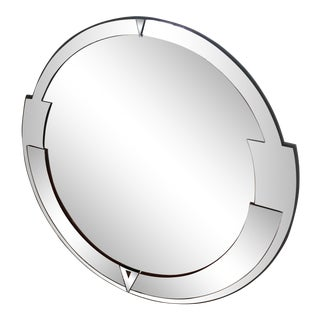 David Marshall Art Deco Two-Toned Round Wall Mirror For Sale